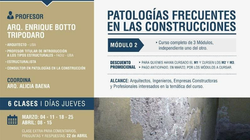 Curso online PATOLOGÍAS FRECUENTES EN LAS CONSTRUCCIONES – MÓDULO 2